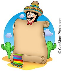 Mexican man with scroll in desert - color illustration.