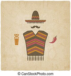 Mexican man with tequila and chili pepper - Mexican man in...