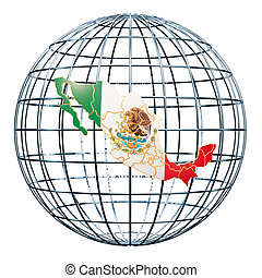 Mexican map on the Earth Globe. 3D rendering