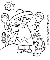 Mexican Maraca Player Line Art - Musician in sombrero and...