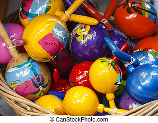 Mexican Maracas - A basket full with colorful hand painted ...