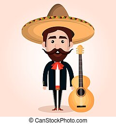 mexican mariachi character classic vector illustration...