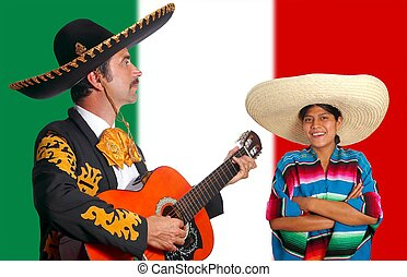 Mexican mariachi charro man and poncho Mexico girl