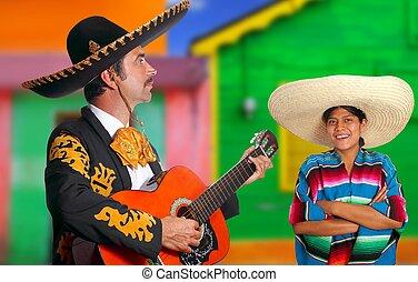 Mexican mariachi charro man and poncho Mexico girl