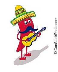Mexican mariachi chilli pepper with yellow guitar and ...