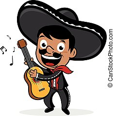 Mexican mariachi man wearing a sombrero, smiling, singing and playing the guitar. Vector Illustration