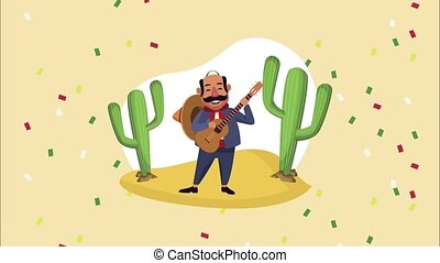 mexican mariachi playing guitar character ,4k video animated
