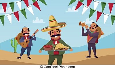mexican mariachis with food characters ,4k video animated