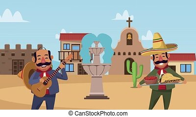 mexican mariachis characters ,4k video animated