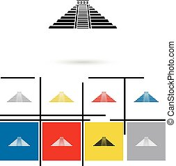 Mexican mayan pyramid icon vector