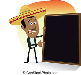 Illustration of a cartoon mexican cook showing the list of today's menu. Tequila, tacos, enchiladas, tortillas and hot spicy sausage food !