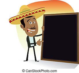 Mexican Menu - Illustration of a cartoon mexican cook...
