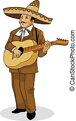 Mexican Musician - Vector Illustration of a Mexican musician...