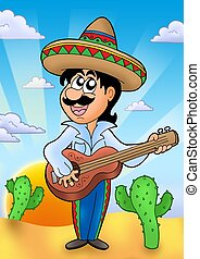 Mexican musician with sunset - color illustration.