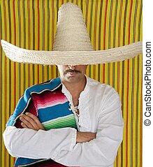 Mexican mustache man sombrero portrait shirt