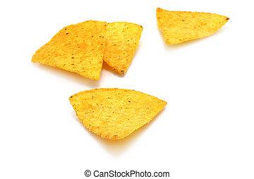 Mexican nachos on white background