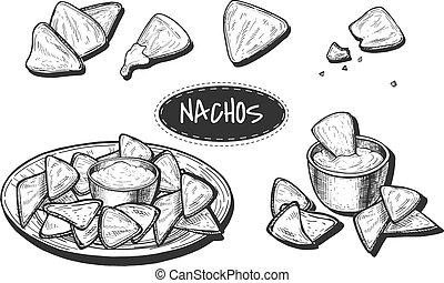 Mexican nachos sketch style set