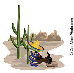 A Mexican desert scene with a Mexican napping