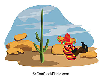 Mexican napping in the desert
