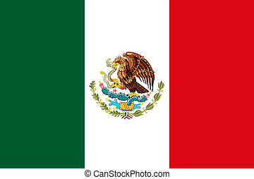 Mexican National Flag With Eagle Coat Of Arms 3D Rendering