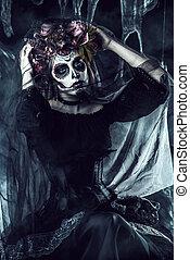 mexican national holiday - Calavera Catrina in black dress...