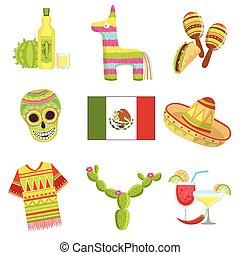 Mexican National Symbols Set