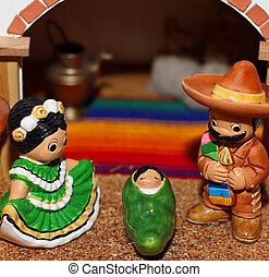 Mexican Nativity with Joseph with a moustache - Mexican...