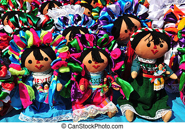 Mexican otomi dolls - Colorful group of otomi doll of...