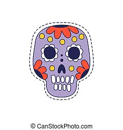 Mexican Painted Skull Bright Hipster Sticker