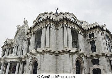 Mexican Palace of Fine Arts, Palacio de Bellas Artes, corner view