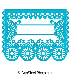 Mexican Papel Picado blank text template design - traditional vector garland pattern with floral pattern