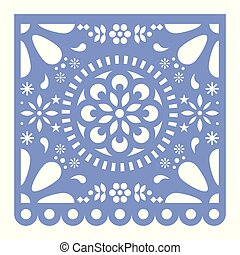 Mexican Papel Picado cutout vector design, happy purple paper fiesta decoration from Mexico with flowers and geometric pattern