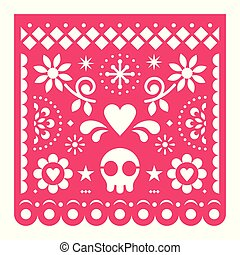 Mexican Papel Picado vector design, pink retro paper fiesta decoration from Mexico with skull, flowers and geometric shapes
