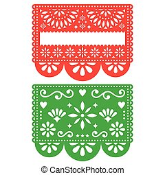 Mexican Papel Picado vector template design set, cutout paper decorations flowers and geometric shapes, two party banners