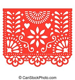 Mexican paper decorations - Papel Picado vector design,...