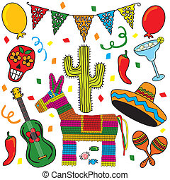 Mexican Party Fiesta Clip art individually grouped. Great for Cinco de Mayo!