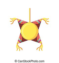mexican party pinata on white background