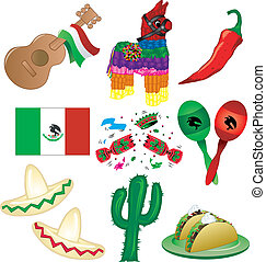 Mexican Party - Vector Illustration of 9 Mexican party icons