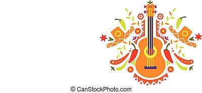 Mexican pattern, traditional symbols of Mexico vector Illustration