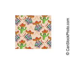 Mexican pattern with cactus, hat and chill illustration