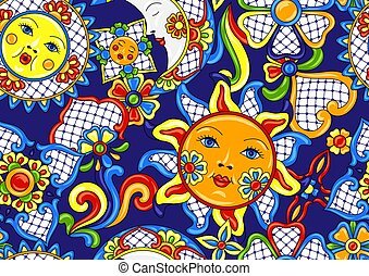 Mexican pattern with cute naive art items. Traditional...