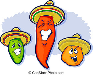 Mexican Peppers Cartoon - Mexican peppers including a...