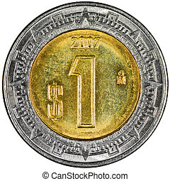 Mexican 1 Peso Gold and Silver Coin Reverse showing the Ring of Serpents of the Aztec Isolated