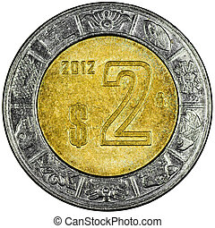 Mexican 2 Pesos Gold and Silver Coin Reverse showing the Ring of Serpents of the Aztec Isolated