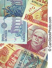 Various denominations of pesos, money from Mexico, Mexican currency. Banco de Mexico. (macro,14MP camera)