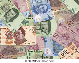 Mexican Pesos - Mexican Peso bills scattered randomly all ...