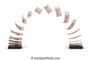 Mexican Pesos Transfer (isolated with clipping path)