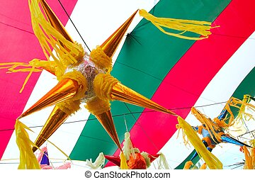 Mexican pinata in mexico flag background - Mexican colorful...