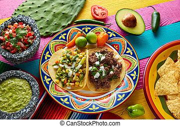 Mexican platillo tacos barbacoa and vegetarian - Mexican...