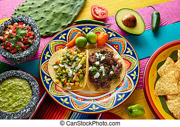 Mexican platillo tacos barbacoa and vegetarian - Mexican...
